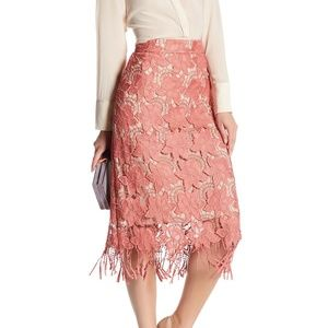 Alice + Olivia Dusty Pink Floral Lace Strand skirt